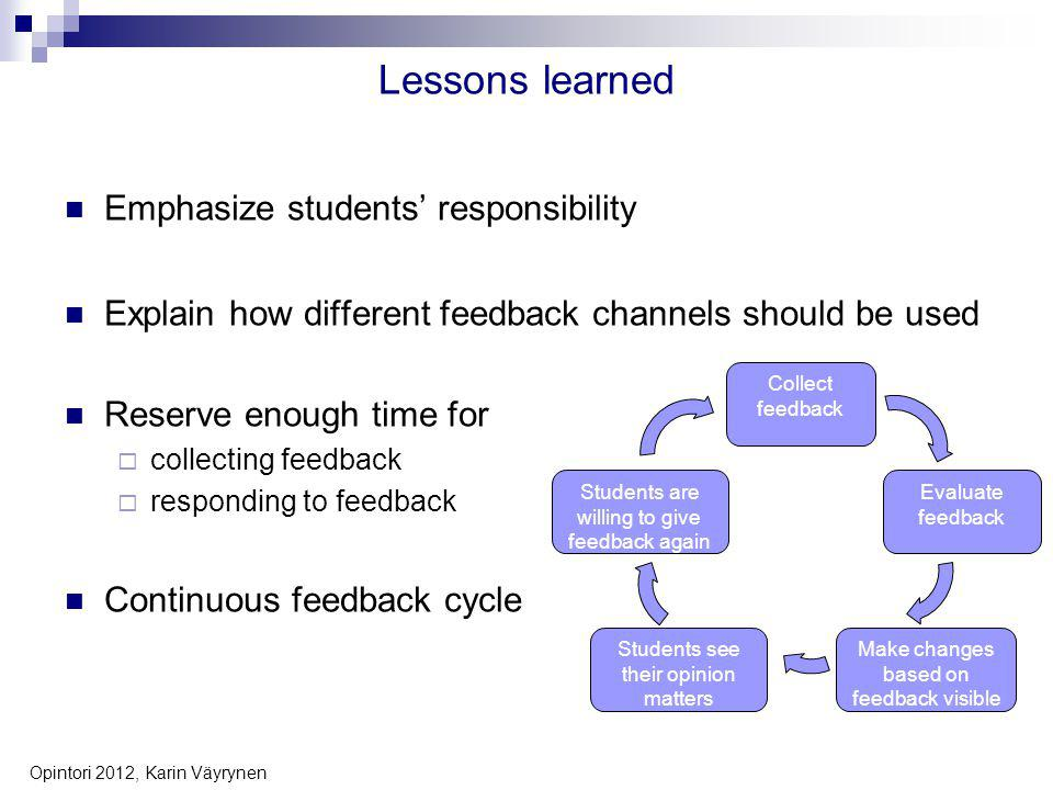 Lessons learned Emphasize students responsibility Explain how different feedback channels should be used Reserve enough time for collecting feedback responding to feedback Continuous feedback cycle 6 Opintori 2012, Karin Väyrynen Collect feedback Evaluate feedback Make changes based on feedback visible Students see their opinion matters Students are willing to give feedback again
