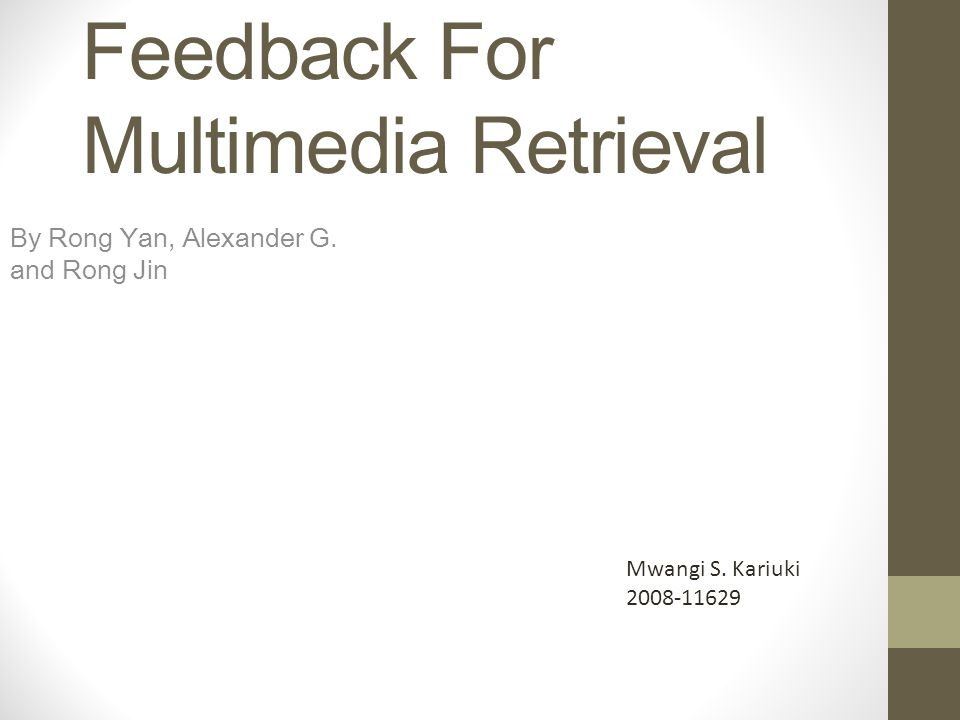 Pseudo-Relevance Feedback For Multimedia Retrieval By Rong Yan, Alexander G.