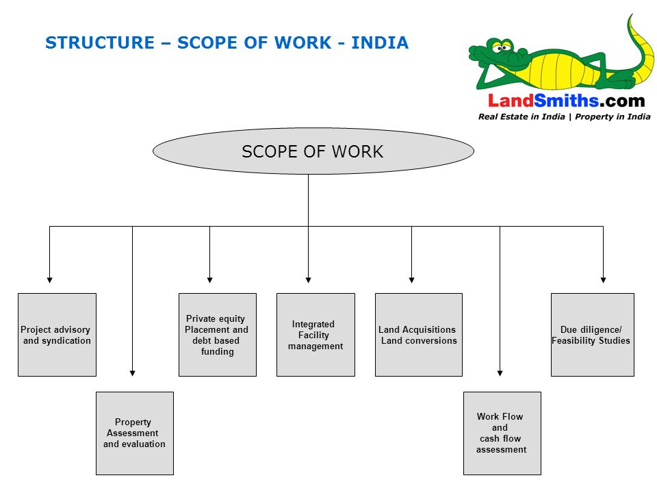 STRUCTURE – SCOPE OF WORK - INDIA SCOPE OF WORK Project advisory and syndication Due diligence/ Feasibility Studies Land Acquisitions Land conversions Private equity Placement and debt based funding Integrated Facility management Property Assessment and evaluation Due diligence/ Feasibility Studies Work Flow and cash flow assessment