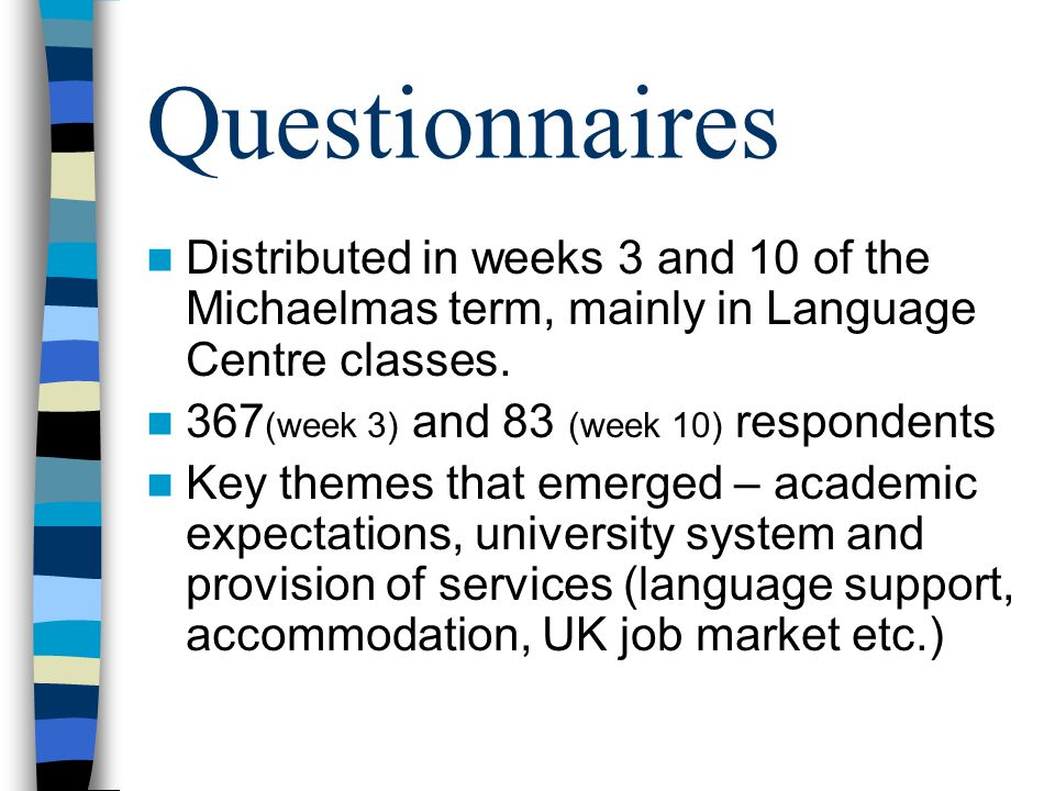 Questionnaires Distributed in weeks 3 and 10 of the Michaelmas term, mainly in Language Centre classes.
