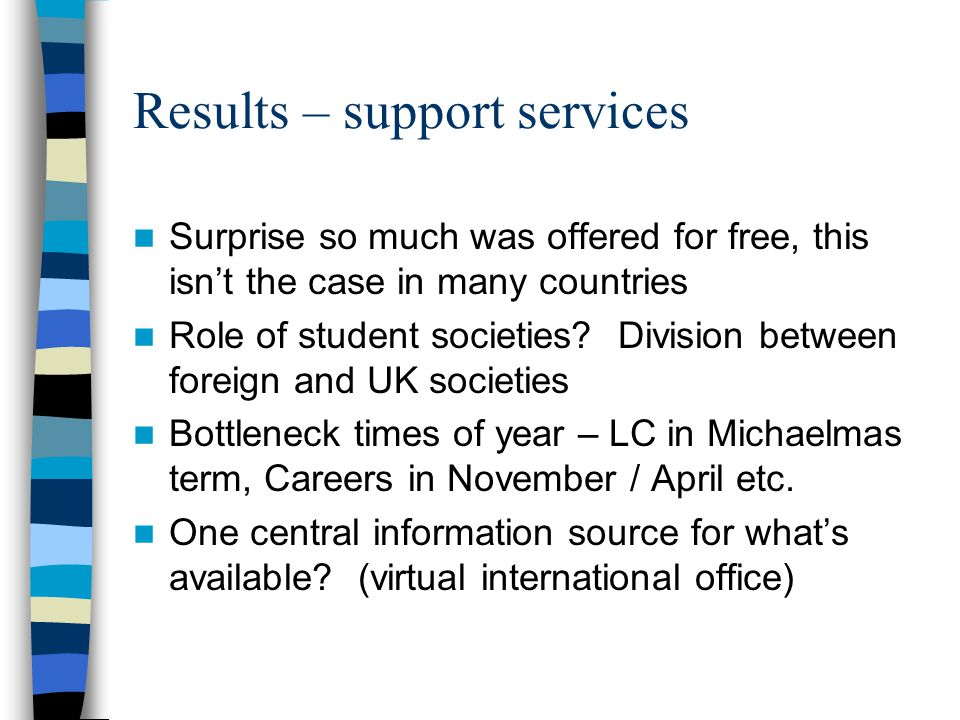Results – support services Surprise so much was offered for free, this isnt the case in many countries Role of student societies.