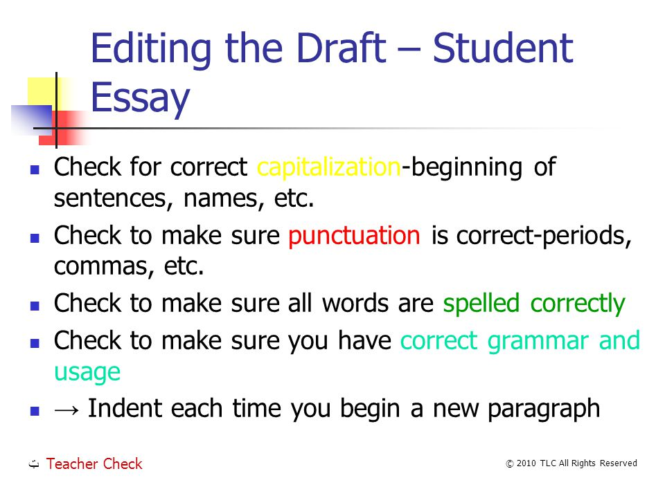 Editing the Draft – Student Essay Check for correct capitalization-beginning of sentences, names, etc.