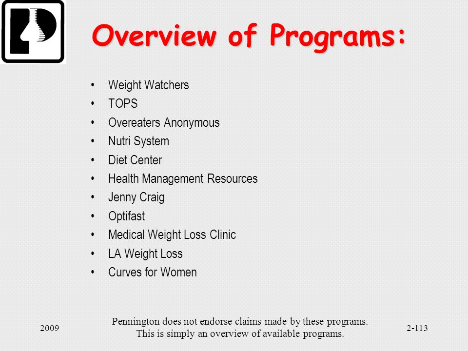 Pennington Does Not Endorse Claims Made By These Programs This Is Simply An Overview Of Available Programs Commercial Weight Loss Programs Ppt Download