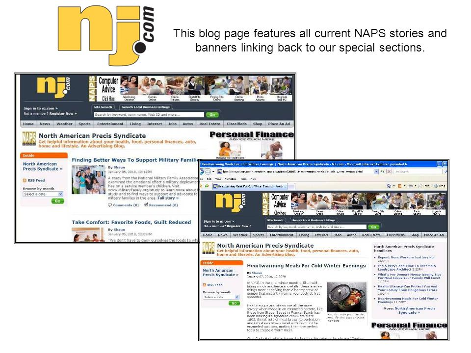 This blog page features all current NAPS stories and banners linking back to our special sections.