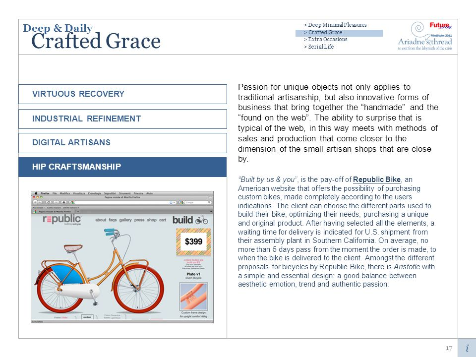 i Crafted Grace Passion for unique objects not only applies to traditional artisanship, but also innovative forms of business that bring together the handmade and the found on the web.