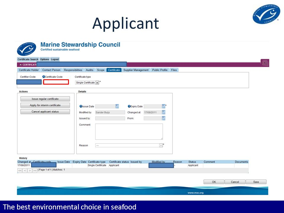 The best environmental choice in seafood Applicant