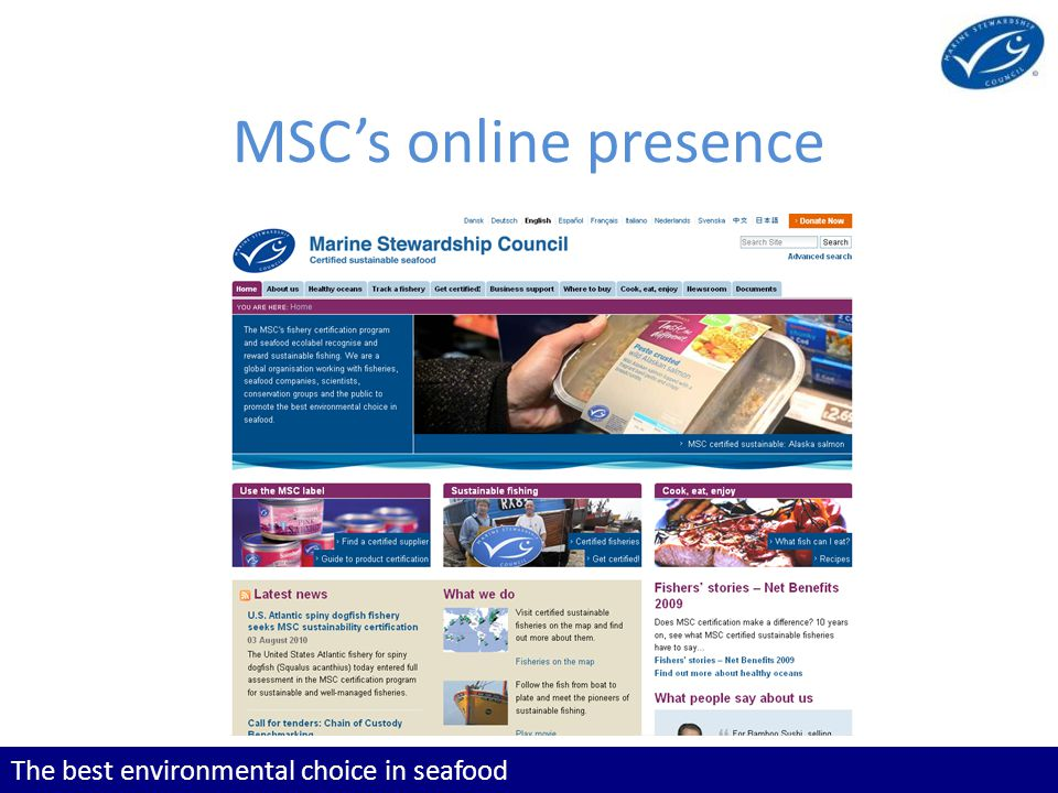 The best environmental choice in seafood MSCs online presence