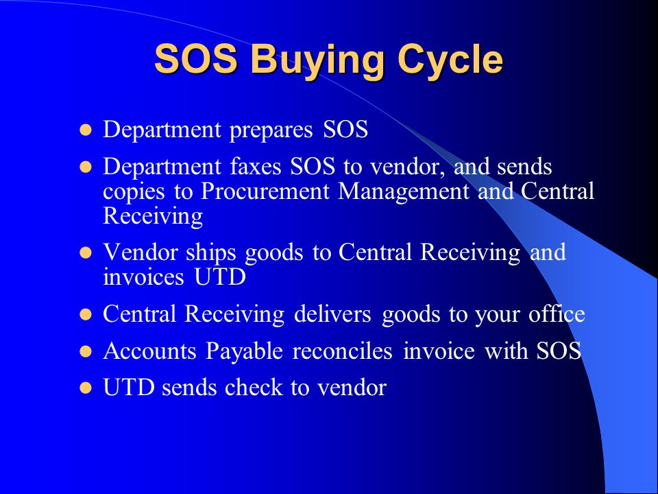 SOS Buying Cycle Department prepares SOS Department faxes SOS to vendor, and sends copies to Procurement Management and Central Receiving Vendor ships goods to Central Receiving and invoices UTD Central Receiving delivers goods to your office Accounts Payable reconciles invoice with SOS UTD sends check to vendor