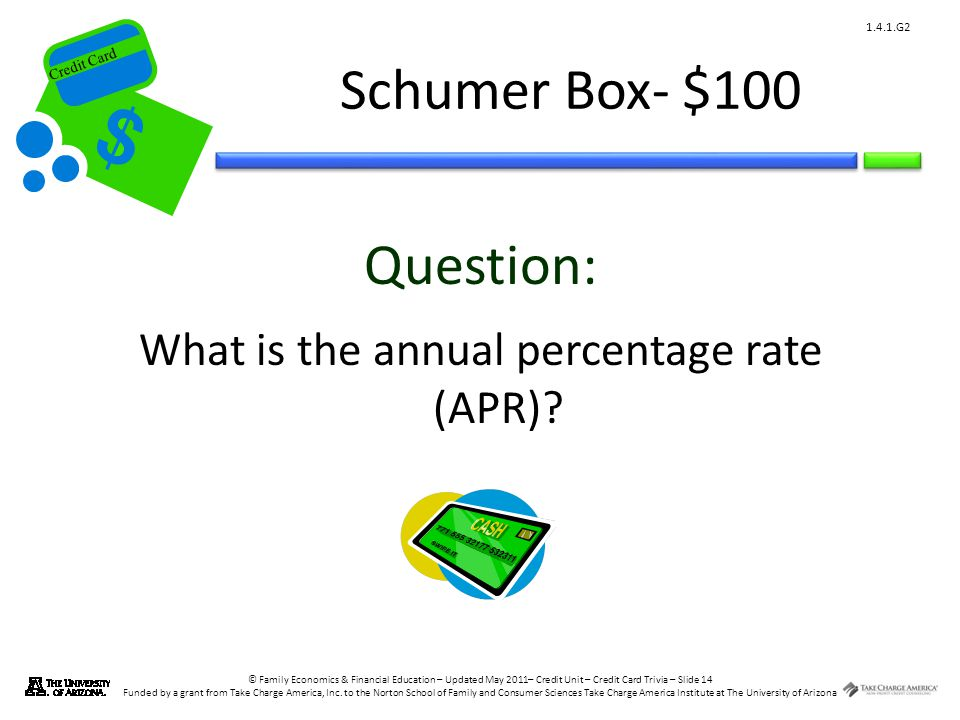 © Family Economics & Financial Education – Updated May 2011– Credit Unit – Credit Card Trivia – Slide 14 Funded by a grant from Take Charge America, Inc.