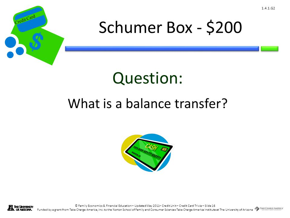 © Family Economics & Financial Education – Updated May 2011– Credit Unit – Credit Card Trivia – Slide 16 Funded by a grant from Take Charge America, Inc.