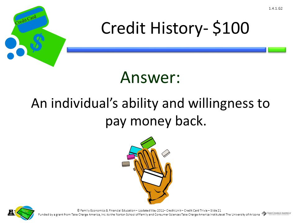 © Family Economics & Financial Education – Updated May 2011– Credit Unit – Credit Card Trivia – Slide 21 Funded by a grant from Take Charge America, Inc.