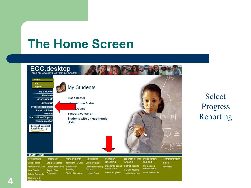 4 Select Progress Reporting The Home Screen