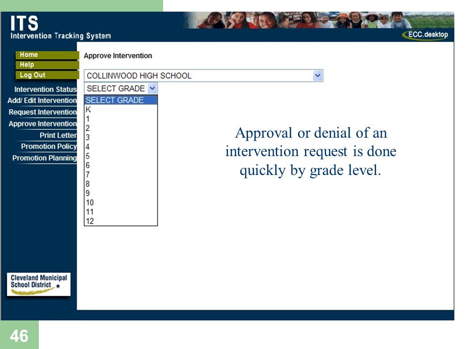 46 Approval or denial of an intervention request is done quickly by grade level.
