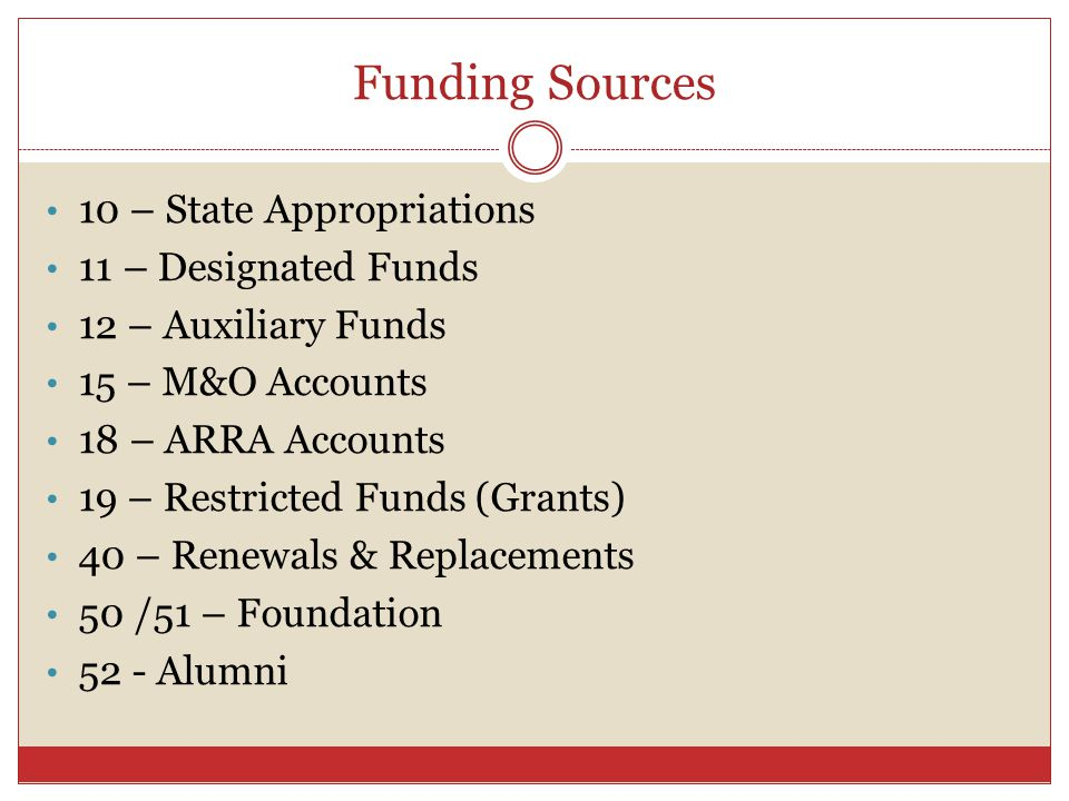 Funding Sources 10 – State Appropriations 11 – Designated Funds 12 – Auxiliary Funds 15 – M&O Accounts 18 – ARRA Accounts 19 – Restricted Funds (Grants) 40 – Renewals & Replacements 50 /51 – Foundation 52 - Alumni