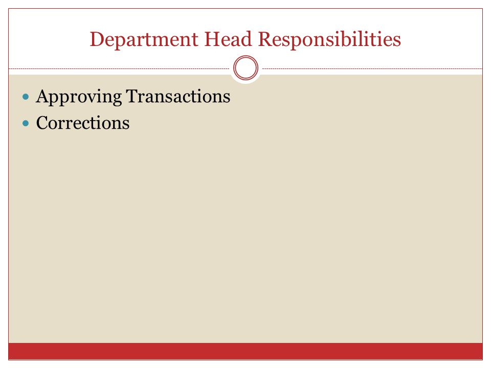 Department Head Responsibilities Approving Transactions Corrections