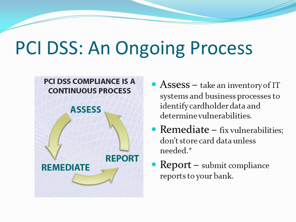 PCI DSS: An Ongoing Process Assess – take an inventory of IT systems and business processes to identify cardholder data and determine vulnerabilities.
