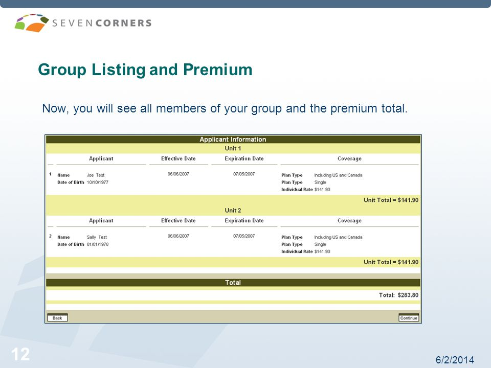 6/2/ Group Listing and Premium Now, you will see all members of your group and the premium total.