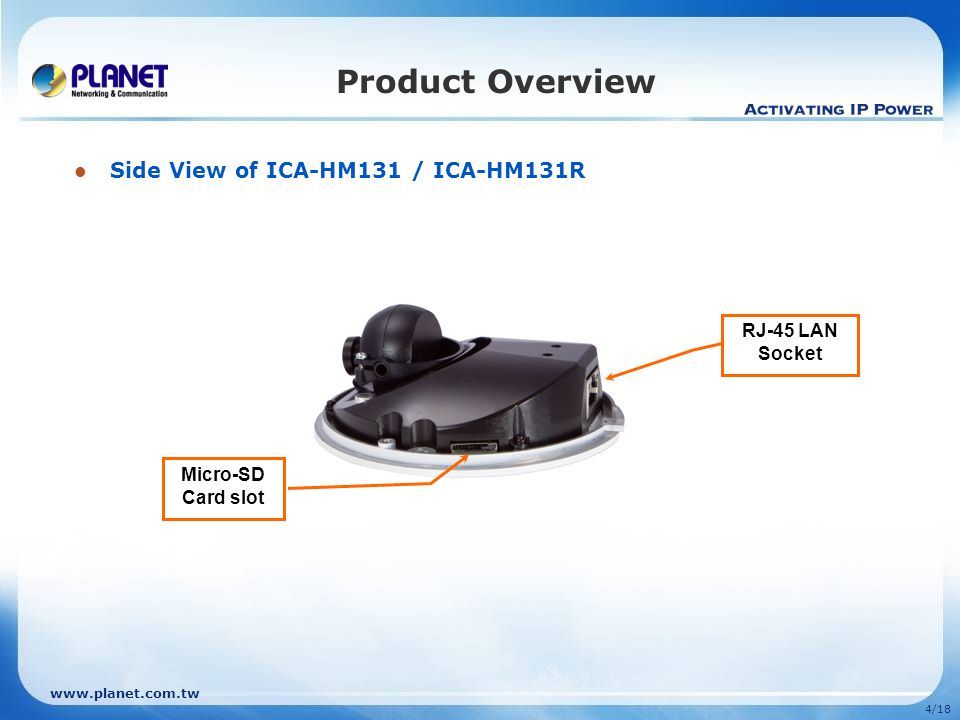 4/18 Product Overview Side View of ICA-HM131 / ICA-HM131R Micro-SD Card slot RJ-45 LAN Socket