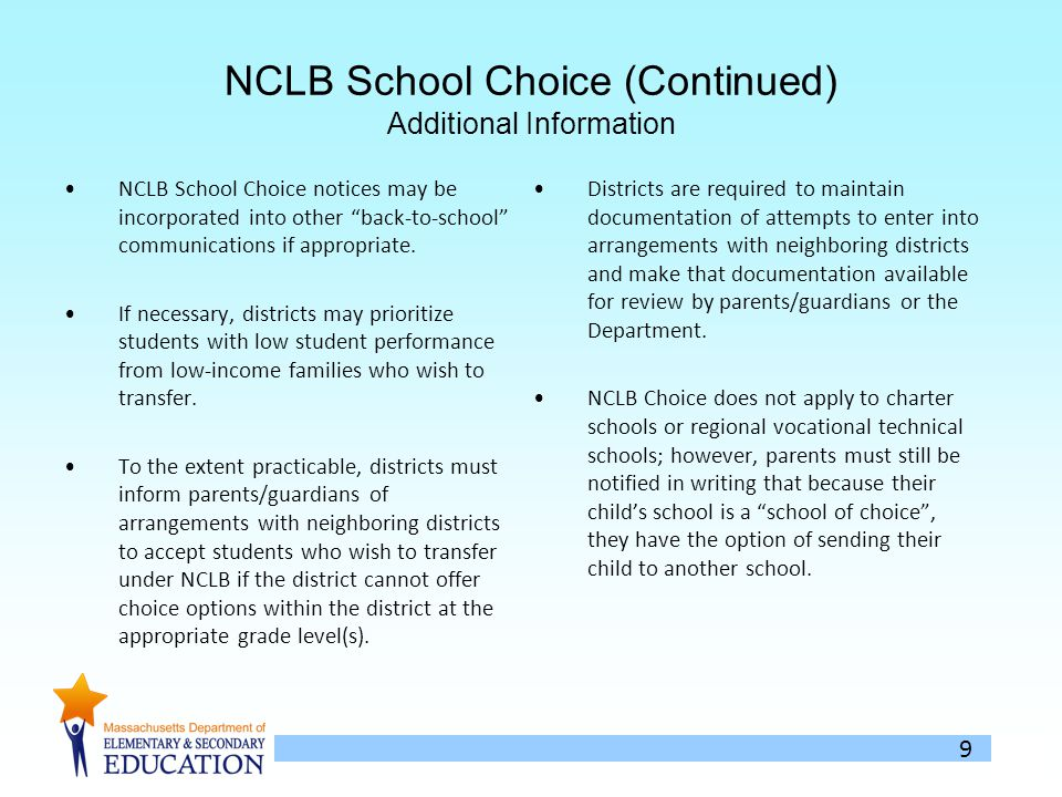 9 NCLB School Choice (Continued) Additional Information NCLB School Choice notices may be incorporated into other back-to-school communications if appropriate.