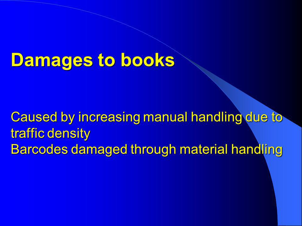 Damages to books Caused by increasing manual handling due to traffic density Barcodes damaged through material handling