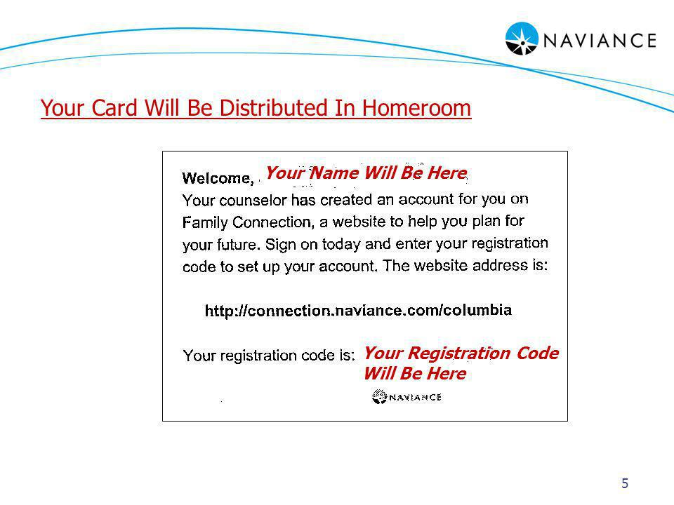5 Your Name Will Be Here Your Registration Code Will Be Here Your Card Will Be Distributed In Homeroom