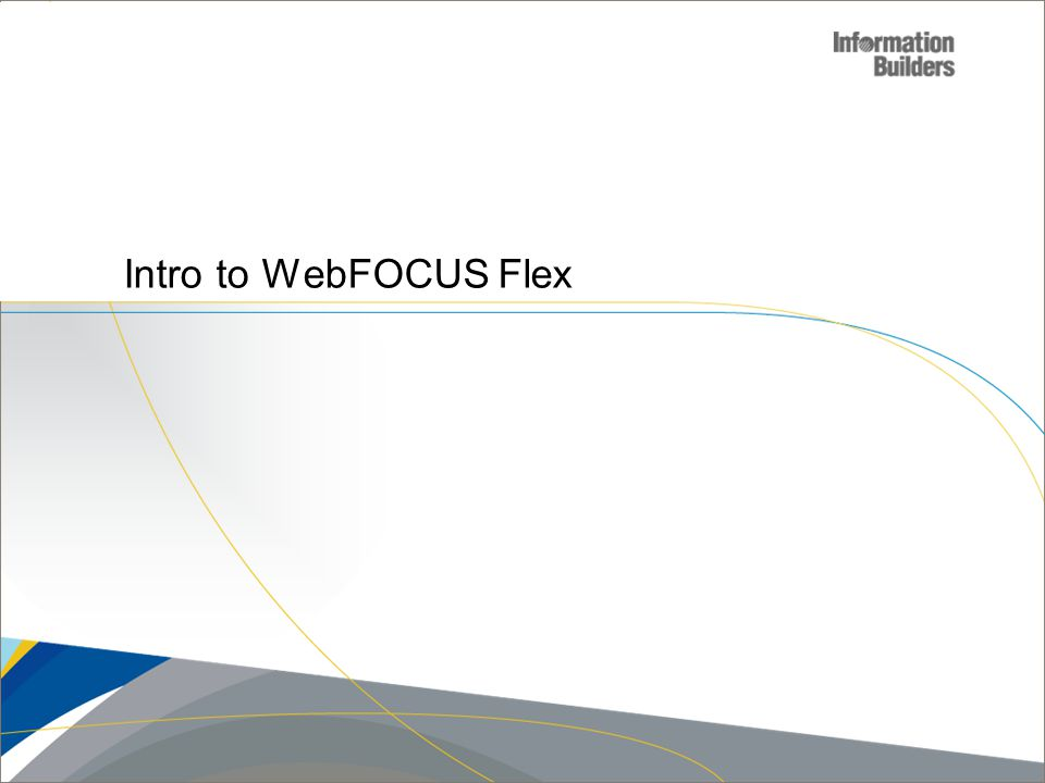 Copyright 2007, Information Builders. Slide 12 Intro to WebFOCUS Flex