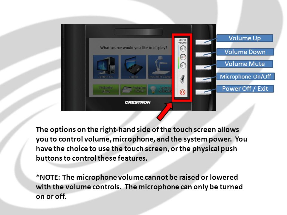 The options on the right-hand side of the touch screen allows you to control volume, microphone, and the system power.