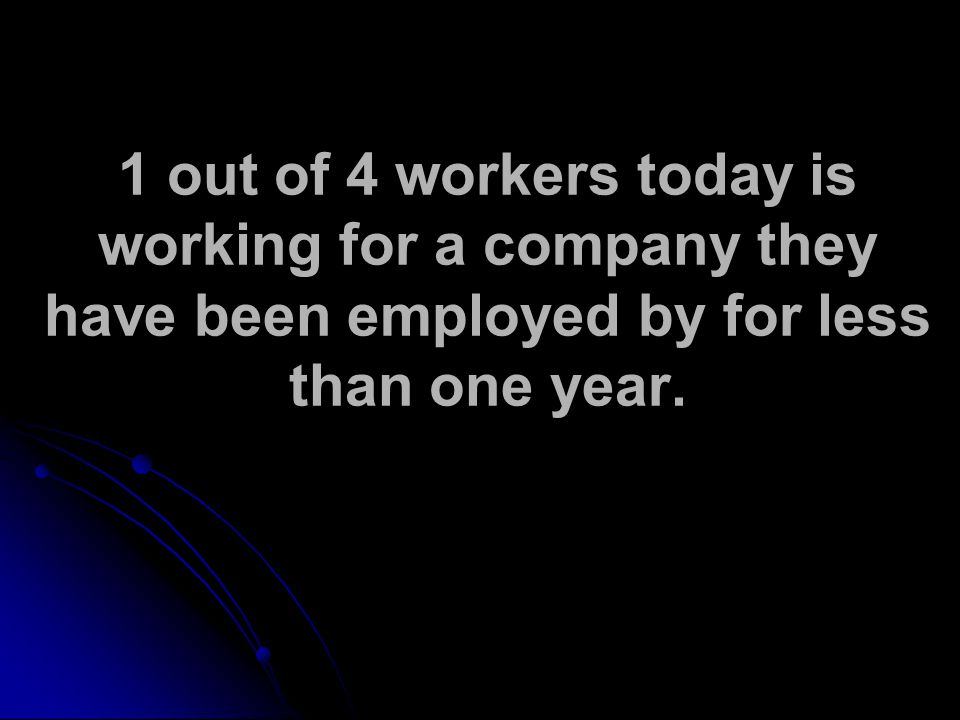 1 out of 4 workers today is working for a company they have been employed by for less than one year.