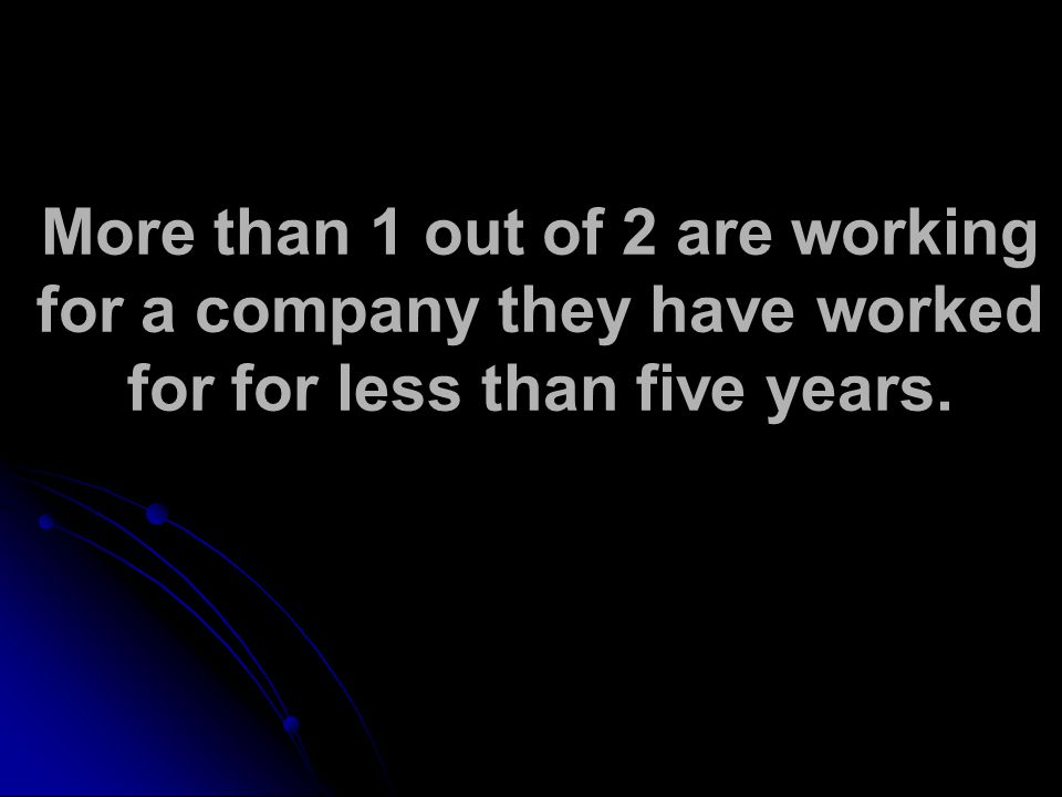 More than 1 out of 2 are working for a company they have worked for for less than five years.