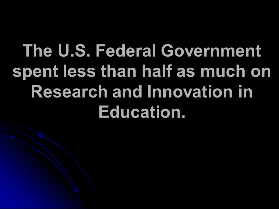 The U.S. Federal Government spent less than half as much on Research and Innovation in Education.