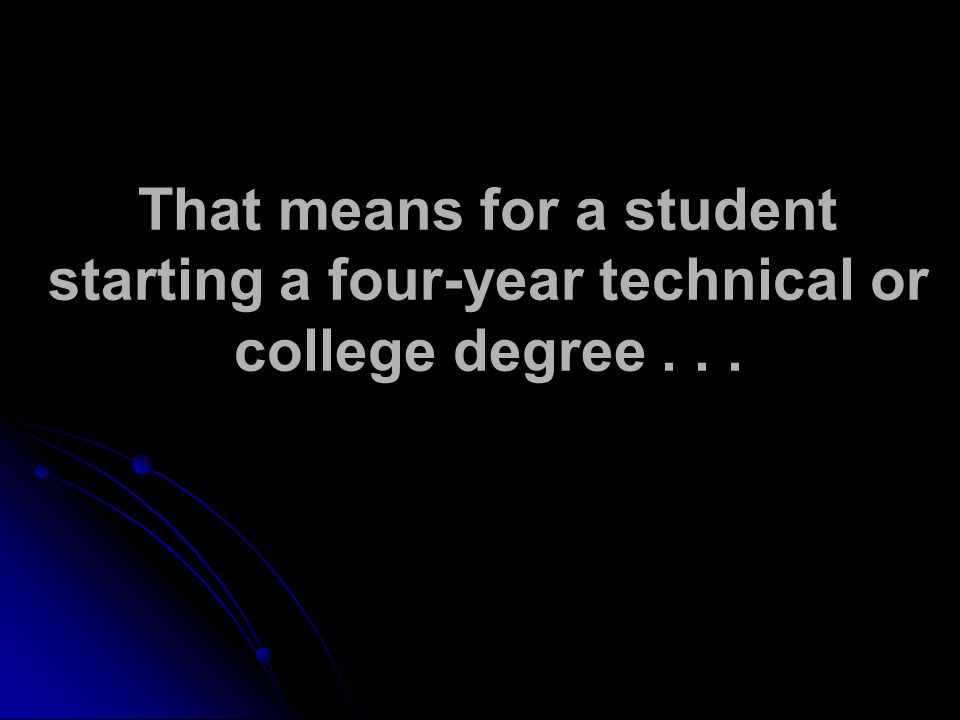 That means for a student starting a four-year technical or college degree...