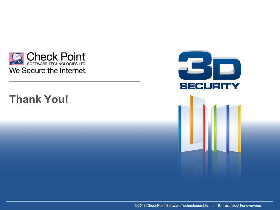 ©2013 Check Point Software Technologies Ltd. | [Unrestricted] For everyone Thank You!