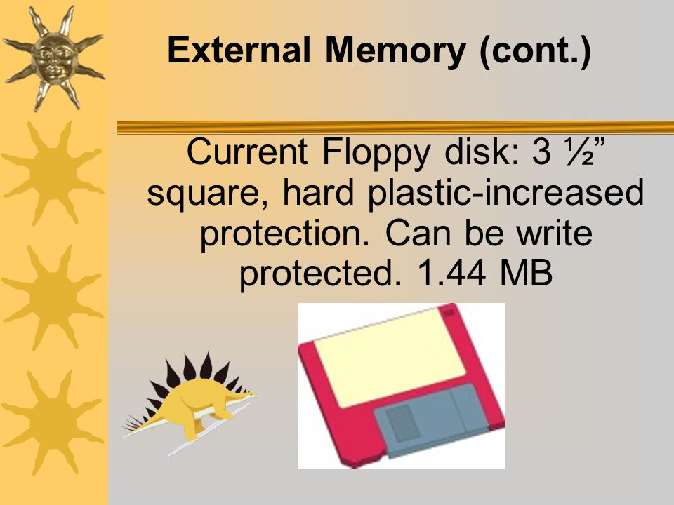 External Memory First floppy disk: 5 ¼ square, plastic, flexible.
