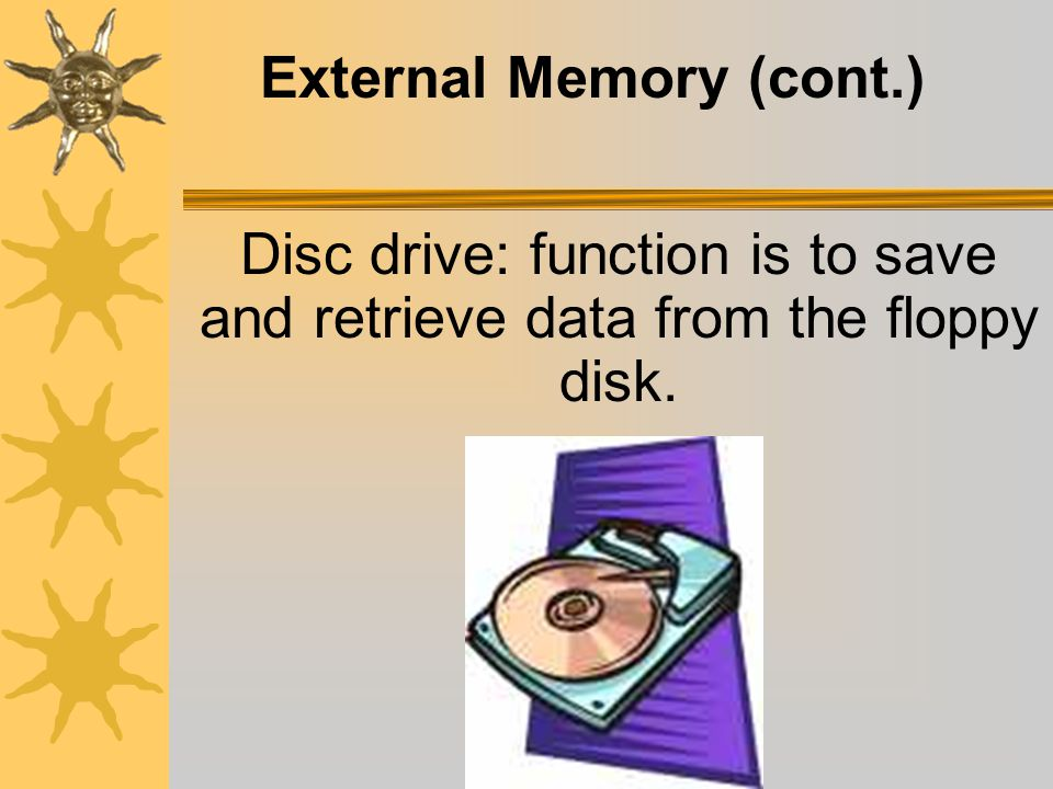 External Memory (cont.) Current Floppy disk: 3 ½ square, hard plastic-increased protection.