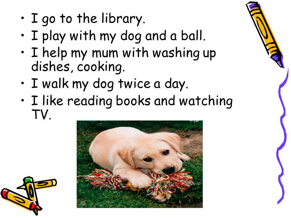 I go to the library. I play with my dog and a ball.