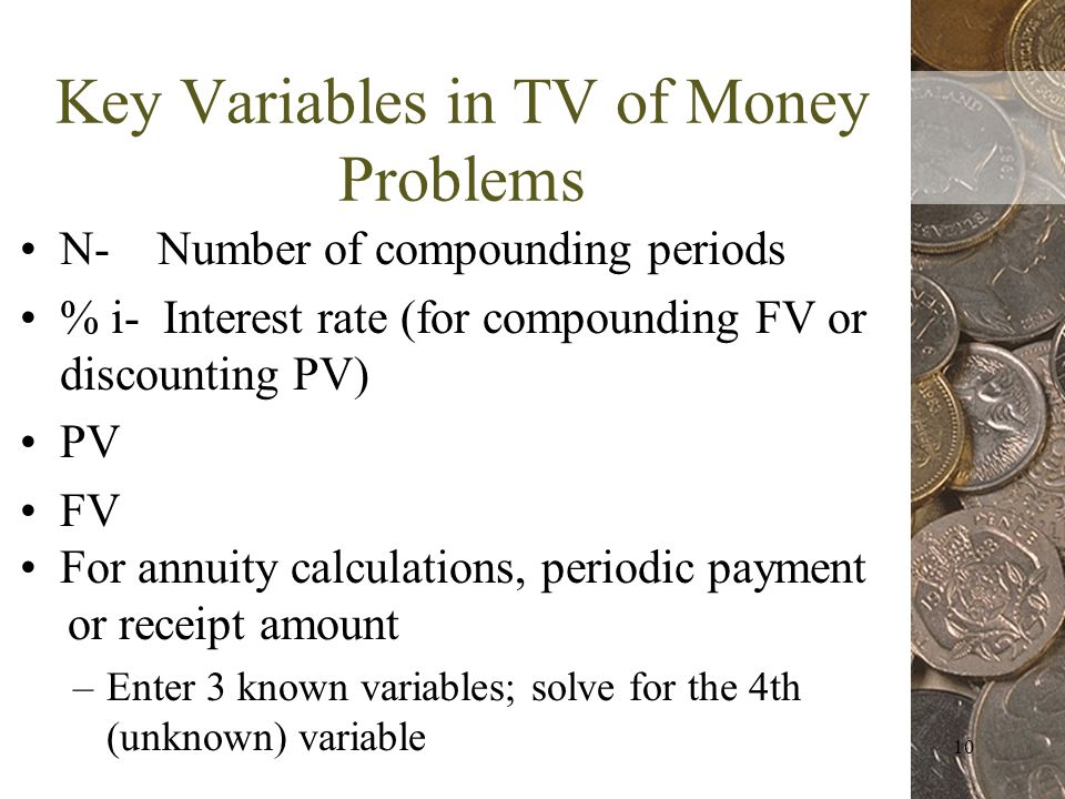 10 Key Variables in TV of Money Problems N- Number of compounding periods % i- Interest rate (for compounding FV or discounting PV) PV FV For annuity calculations, periodic payment or receipt amount –Enter 3 known variables; solve for the 4th (unknown) variable