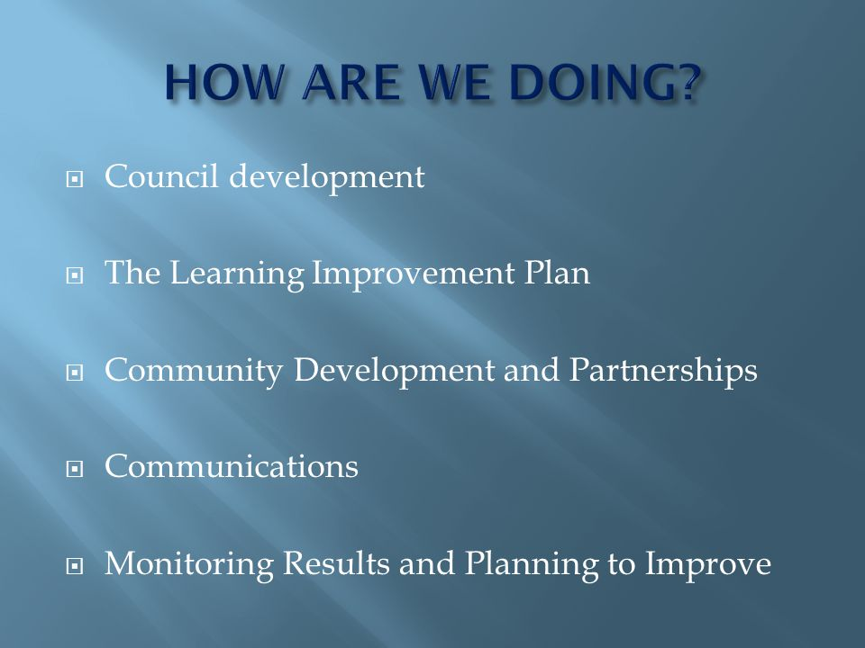 Council development The Learning Improvement Plan Community Development and Partnerships Communications Monitoring Results and Planning to Improve