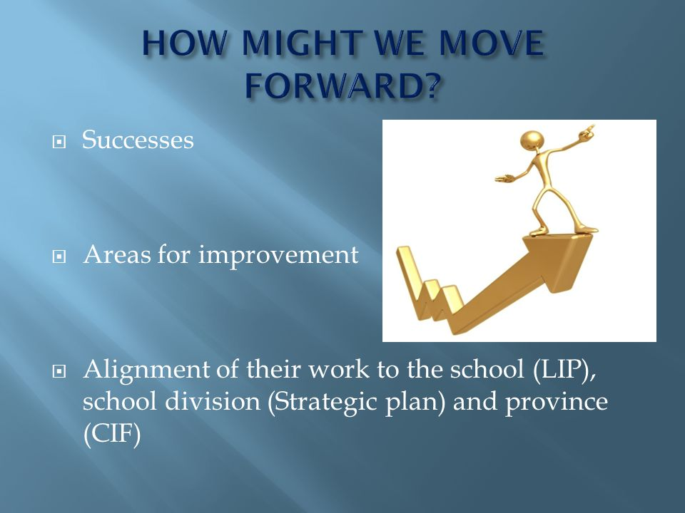 Successes Areas for improvement Alignment of their work to the school (LIP), school division (Strategic plan) and province (CIF)
