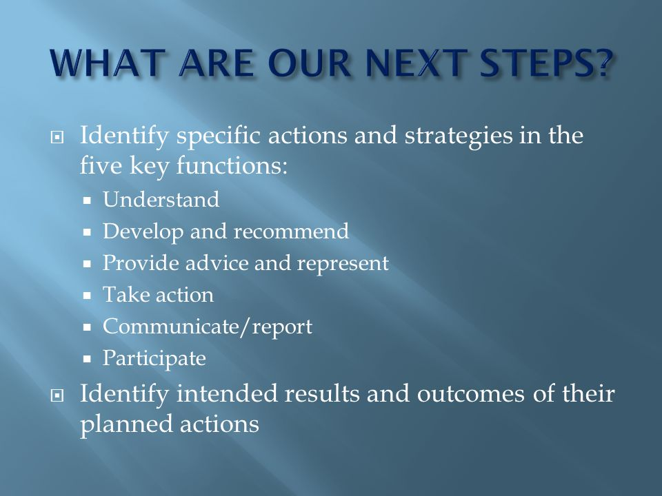 Identify specific actions and strategies in the five key functions: Understand Develop and recommend Provide advice and represent Take action Communicate/report Participate Identify intended results and outcomes of their planned actions
