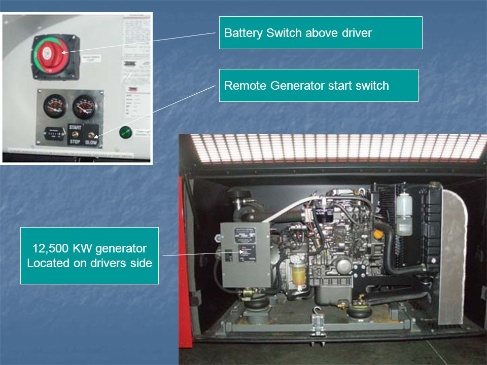 Battery Switch above driver Remote Generator start switch 12,500 KW generator Located on drivers side