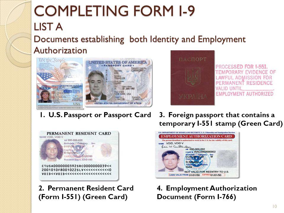 Form I 9 Employment Eligibility Verification Form Ppt Download