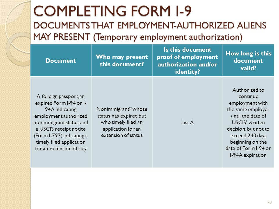FORM I-9 EMPLOYMENT ELIGIBILITY VERIFICATION FORM ppt download I Extension Application Form on uscis citizenship application form, notice of action form, passport application form, immigration to canada application form, h1b application form, i-9 application form, us postal application form, california gun license application form, i-90 application form, sample college application form,