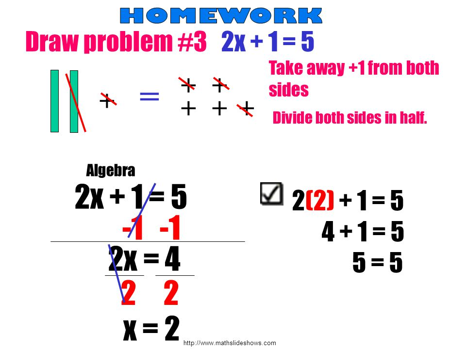 Draw problem #3 2x + 1 = = + Take away +1 from both sides Divide both sides in half.