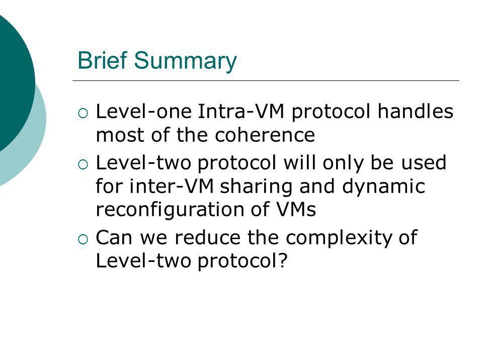 Brief Summary Level-one Intra-VM protocol handles most of the coherence Level-two protocol will only be used for inter-VM sharing and dynamic reconfiguration of VMs Can we reduce the complexity of Level-two protocol