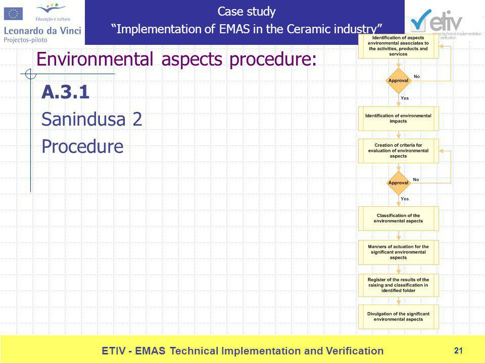 21 ETIV - EMAS Technical Implementation and Verification 21 Environmental aspects procedure: A.3.1 Sanindusa 2 Procedure Case study Implementation of EMAS in the Ceramic industry