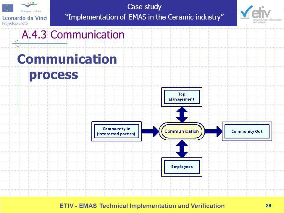 36 ETIV - EMAS Technical Implementation and Verification 36 A.4.3 Communication Communication process Case study Implementation of EMAS in the Ceramic industry