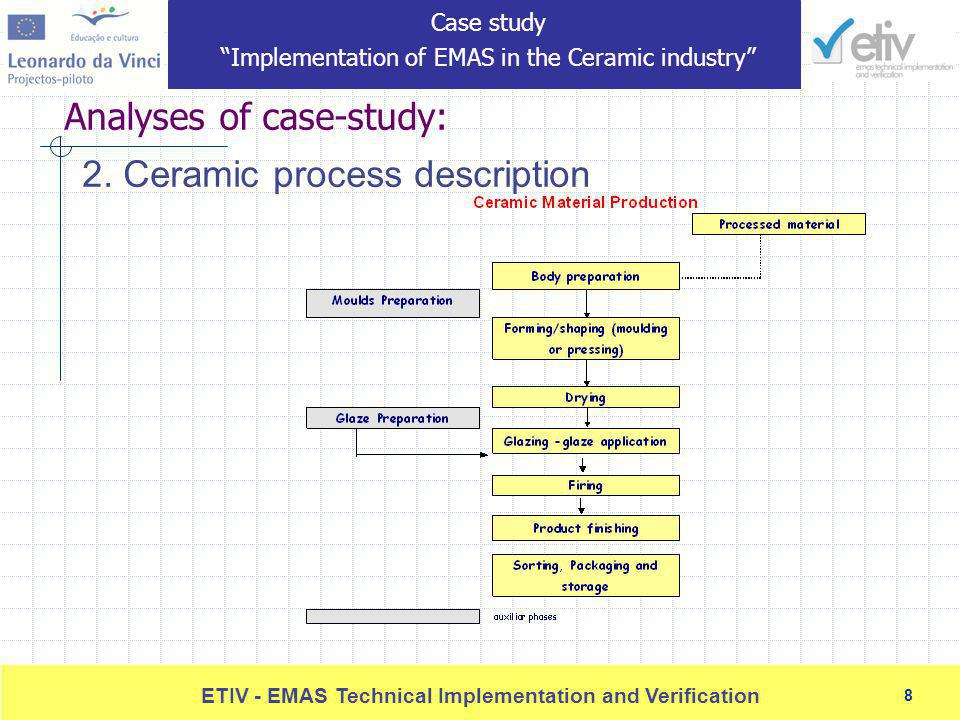 8 ETIV - EMAS Technical Implementation and Verification 8 Analyses of case-study: 2.