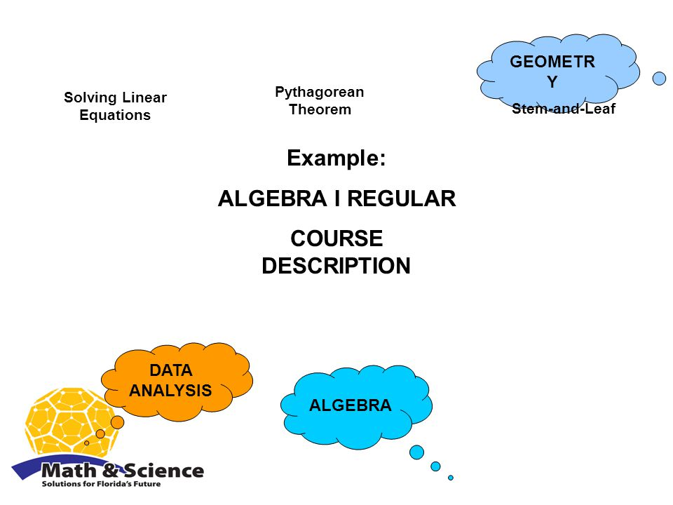 ALGEBRA DATA ANALYSIS GEOMETR Y Example: ALGEBRA I REGULAR COURSE DESCRIPTION Solving Linear Equations Pythagorean Theorem Stem-and-Leaf