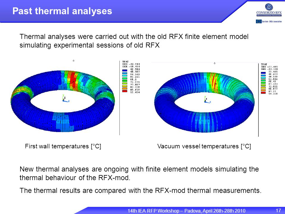 14th IEA RFP Workshop – Padova, April 26th-28th 2010 17 Past thermal analyses First wall temperatures [°C] Thermal analyses were carried out with the old RFX finite element model simulating experimental sessions of old RFX New thermal analyses are ongoing with finite element models simulating the thermal behaviour of the RFX-mod.