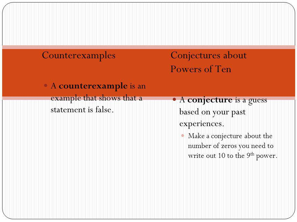 Counterexamples A counterexample is an example that shows that a statement is false.
